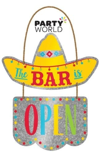 Fiesta Party 2 Tier Hanging Metal Sign -The Bar is Open