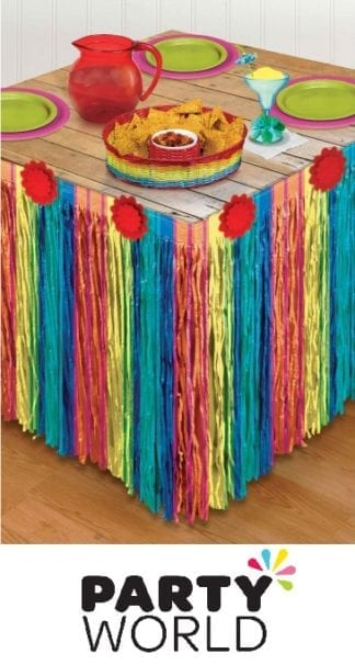 Fiesta Striped Paper Table Skirt - 3m x 73cm