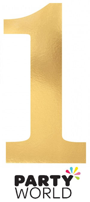 Gold Foil Cardboard Cutouts Number One (6)