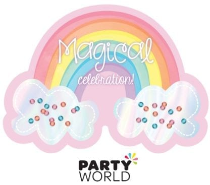 Magical Rainbow Birthday Shaped Large Invitations (8)
