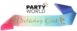 Mermaid Birthday Girl Satin Sash