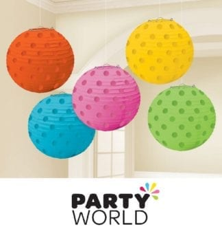 Mini Paper Lanterns - Multicoloured With Dots (5)