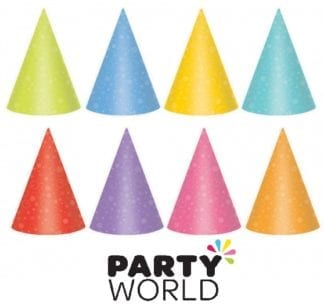 Party Cone Hats Assorted Bright Colours (24)