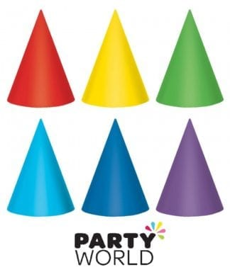 Party Cone Hats Assorted Primary Colours (12)