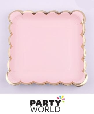 Pink And Gold Square Paper Plates (12)
