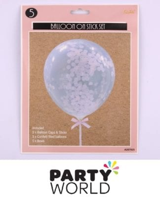 Pink Confetti Balloon On Stick Set