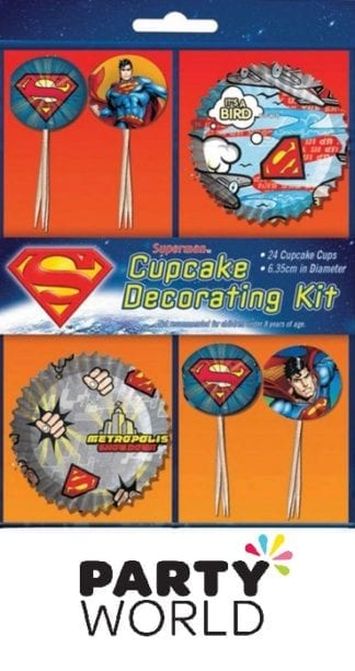 Superman Party Cupcake and Decorations Kit (24 Pcs)