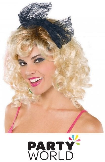 Totally 80s Black Lace Headband With Bow
