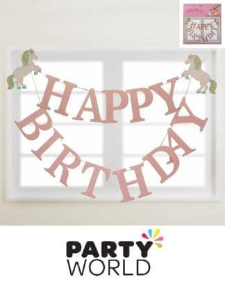 Unicorn Party Happy Birthday Banner
