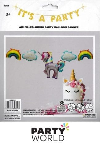 Unicorn Party Large Balloon Banner (5pcs)