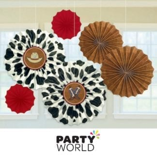 Western Party Paper Fan Decorations (6)