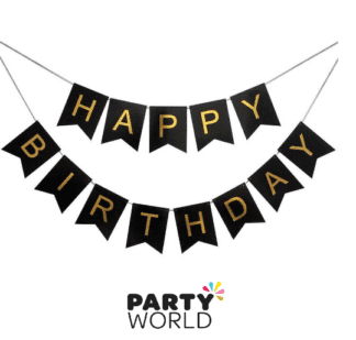 black & gold birthday banner