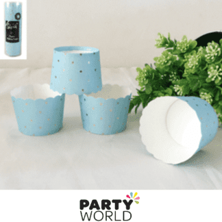 blue baking cups with gold dots