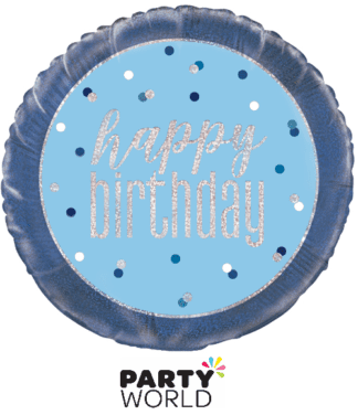 blue happy birthday foil balloon