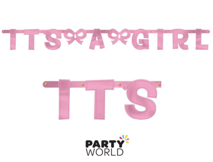 its a girl baby shower banner pink
