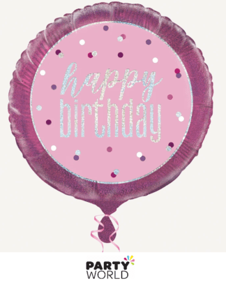 pink birthday foil balloon