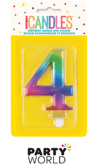 rainbow number candle 4