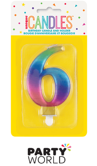 rainbow number candle 6