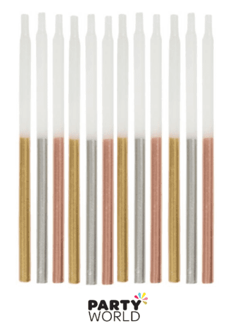 silver, gold, rose gold candles