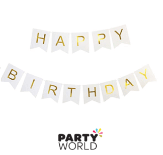 white gold birthday banner