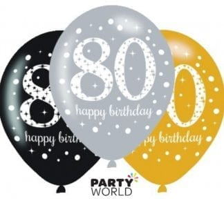 80th Birthday Sparkling Celebration Assorted Latex Balloons (6)