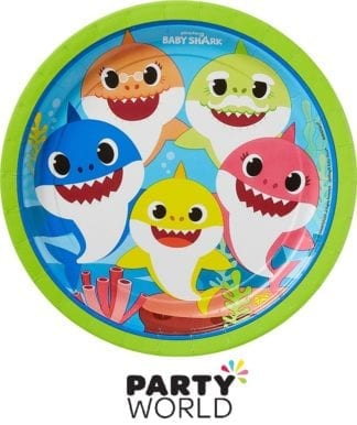 Baby Shark Party Paper 9 Inch Plates (8)