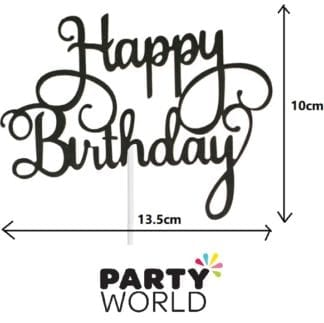 Black Glitter Happy Birthday Cake Topper