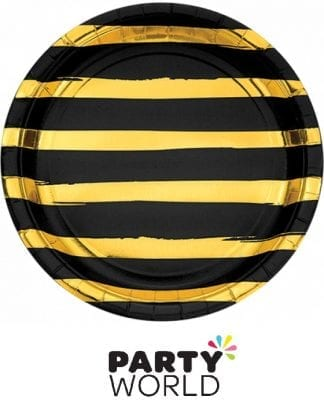 Black Velvet & Gold Striped Paper Plates (8)
