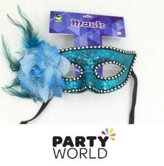 Blue Sequins And Feather Masquerade Mask