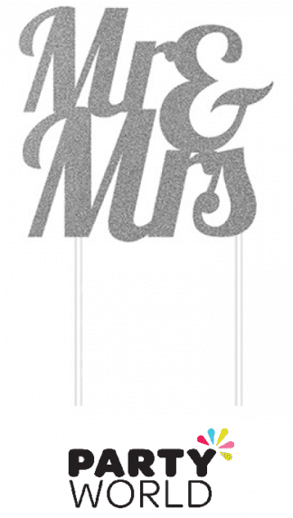 Mr and Mrs Silver Glitter Cake Topper