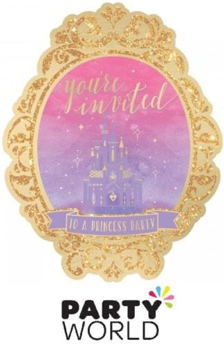 Disney Princess Once Upon A Time Deluxe Glittered Invitations (8)