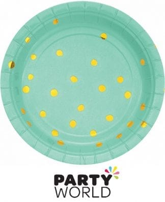 Fresh Mint And Gold Foil Dots Paper Plates (8)