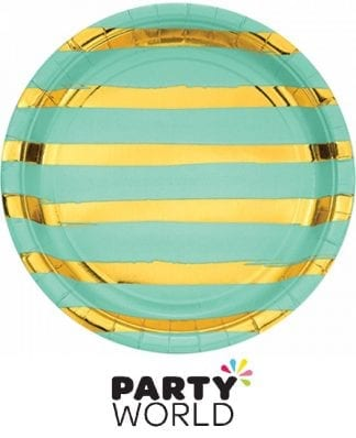 Fresh Mint & Gold Stripe Stamped Paper Plates (8)
