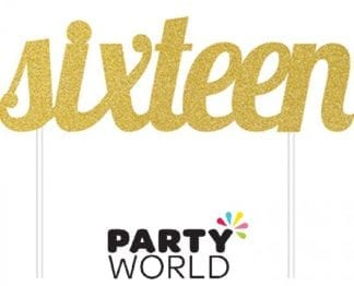 Gold Sixteen Glittered Party Cake Topper