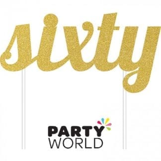 Gold Sixty Glittered Party Cake Topper
