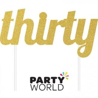 Gold Thirty Glittered Party Cake Topper