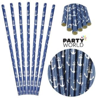 Navy Blue Paper Straws With Anchors (25)