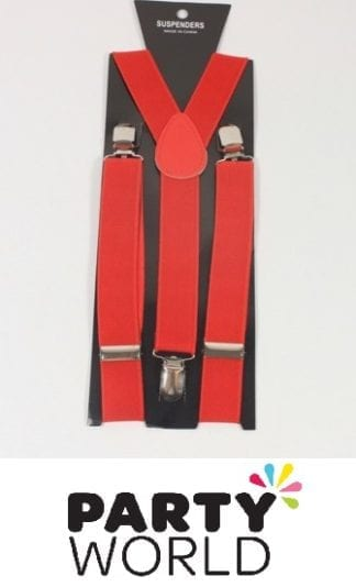 Red Mens Suspenders