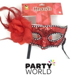 Red Sequins And Feather Masquerade Mask