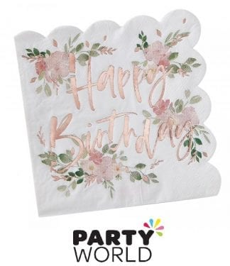 Rose Gold Ditsy Floral Happy Birthday Lunch Napkins (16)