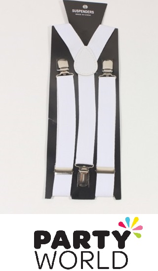 White Mens Suspenders