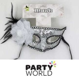 White Sequins And Black Feather Masquerade Mask