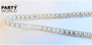 diamante ribbon silver
