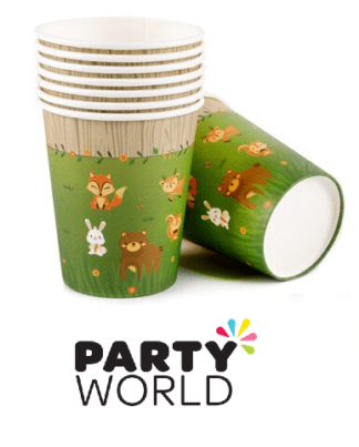 woodland animals paper cups