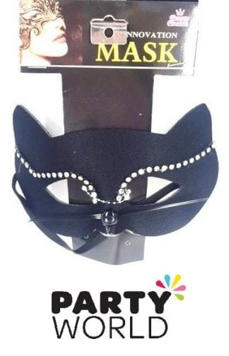 Black and Diamante Cat Lady Masquerade Mask