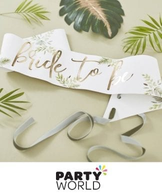 Bride To Be Botanical Foiled Gold Party Sash