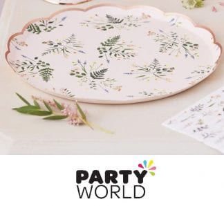 Floral Rose Gold Party Round Plates (8)