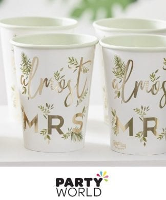 Hens Party Almost Mrs Botanical Foiled Gold Paper Cups (8)