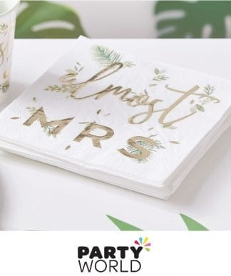 Hens Party Almost Mrs Botanical Foiled Gold Paper Napkins (16)