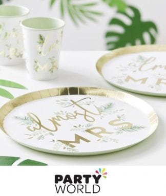 Hens Party Botanical Foiled Gold Paper Plates (8)
